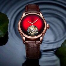 Oryginalny męski marka luksusowy automatyczny mechaniczny zegarek z mechanizmem tourbillon Hollow mężczyźni biznes wodoodporne zegarki sportowe Relogio Masculino