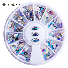 DIY Nail Art Wheel Crystal AB Color Glitter Horse Eye Rhinestone 3D Nail Art Decoration AB Acrylic Nails Diamond Drill Wheel 1pcs nail art box tips crystal glitter rhinestone nail art 3d decoration jewelry wheel tool rhinestoens for nails decorations