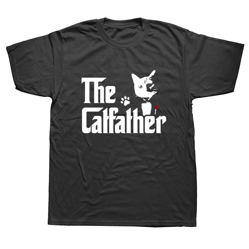 The CatFather Father Of Cats Dad Funny T Shirts Men Summer Cotton Harajuku Short Sleeve O Neck Streetwear Black T-shirt
