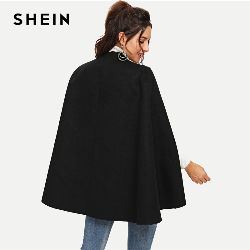 SHEIN Пальто-Пончо С Длинны Рукавом Стильное Пальто Оригинального Кроя