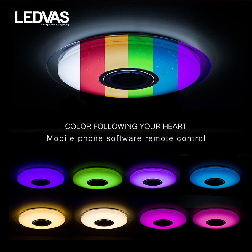 ledvas led ceiling light with rgb dimmable 52w app control bluetooth