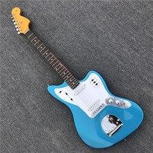 Kaiyun Factory изготавливает красивую металлическую голубую леопардовую электрогитару. Jaguar Гитары. Серебристой фурнитурой. настоящая фотография