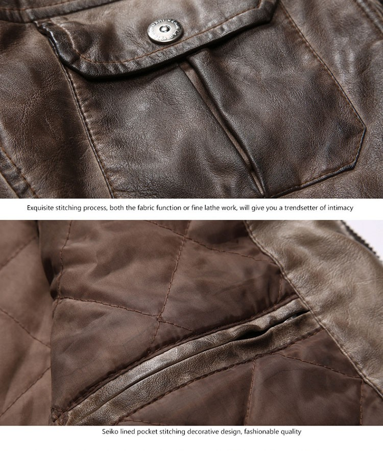Motorcycle leather jackets men jaqueta de couro masculina 2016 fashion casual pu zipper coat stand collar slim fit outwear M3XL (4)