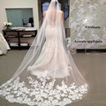 Fress shipping Vestido Noiva Casamento 2.6 Meter Long Tulle Wedding Accesories Bridal Veils White Wedding Veil With Bride
