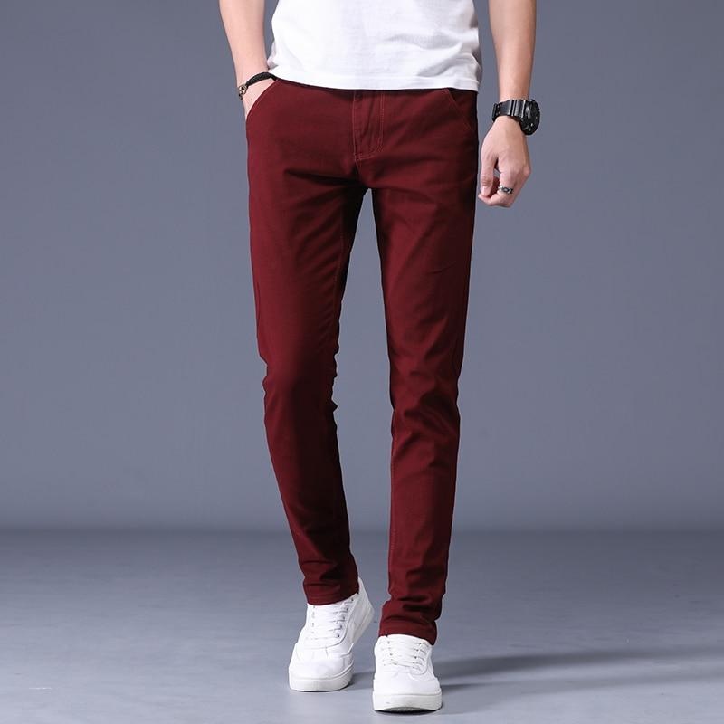 2020 Spring Causal Long Pants Men 100% Cotton Slim Fit Trousers Mens Fashion Sweatpants Plus Size Male Brand Clothing 6 Colors