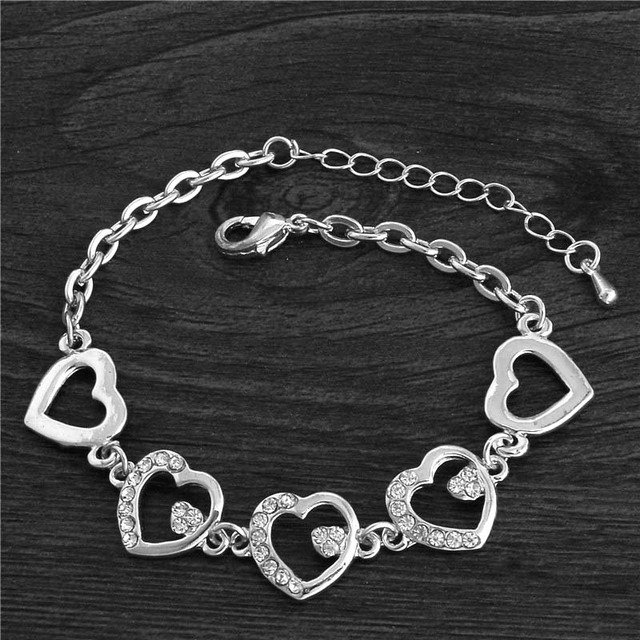 Hearts Bracelet Femme Silver Plated Women Wedding Crystal Bracelets Pulseras Fine Jewelry TH374