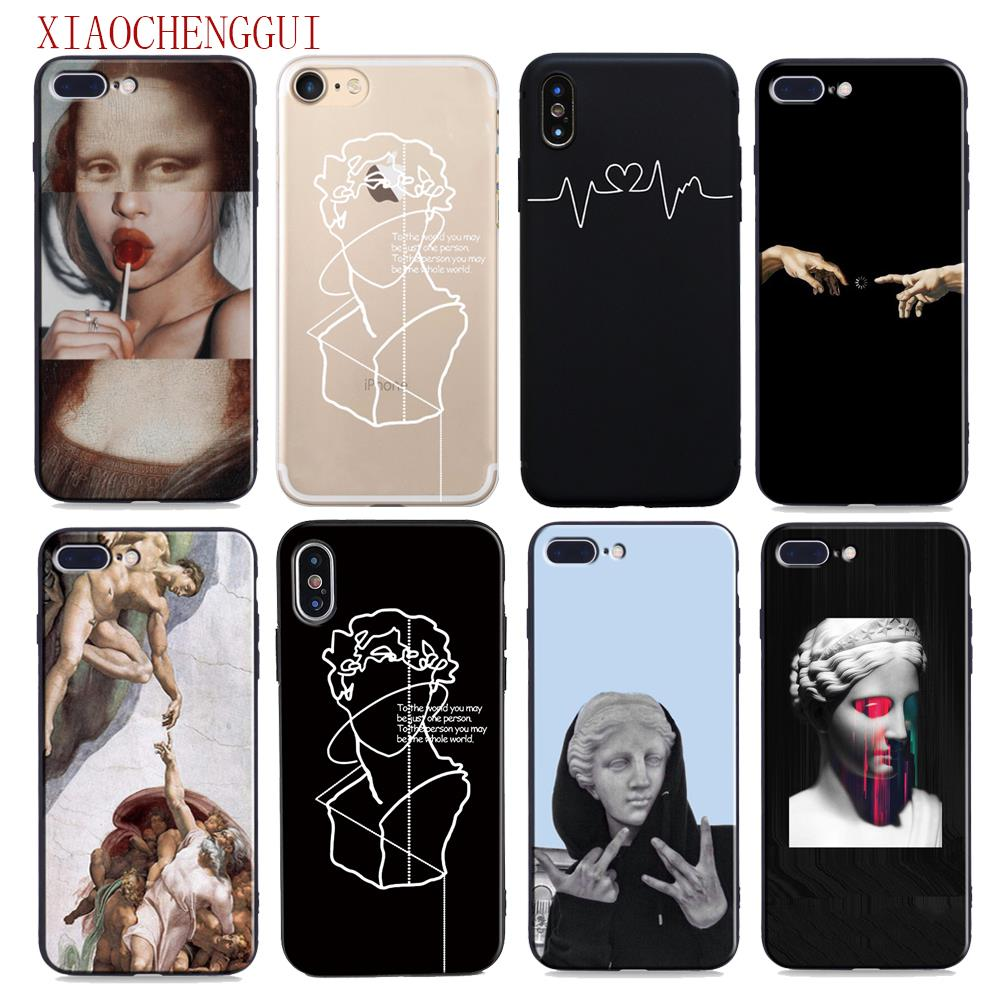 Para iphone caso x Arte Mona lisa David linhas de silicone suave Case capa Do Telefone Para iphone 5S 6 6s 7 8 Plus XR XS Max 11 pro max caso