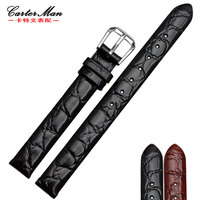 High quality 6mm 8mm 10mm small size watchband Genuine leather watch strap Black Women's Bracelet