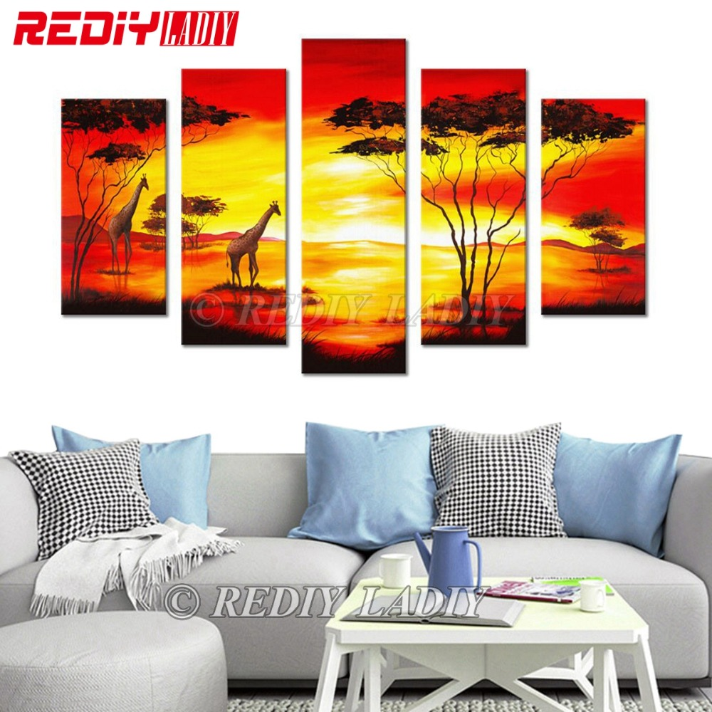 REDIY LADIY Diamond Painting Triptych Diamond Embroidery Crystal Modular Picture Sunset Africa Wall Art Multi Picture