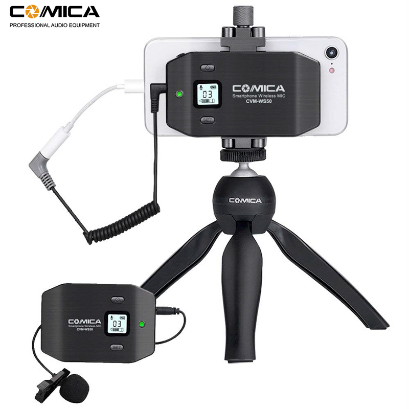Comica CVM-WS50(C) 6 Channels Wireless Smartphone Lavalier Lapel Microphone System For IPhone Samsung Huawei Mobile Phone/Camera