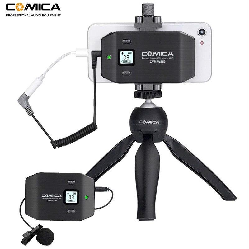 Micrófono inalámbrico para teléfono inteligente Comica CVM WS50 (C) 6 canales micrófono solapa Lavalier para iPhone Samsung Huawei teléfono Androidmicrófonos   -