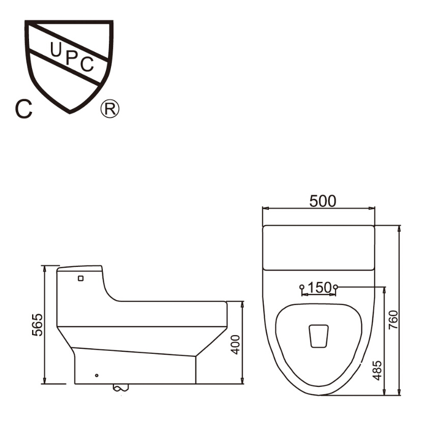 2016 hot sales water closet one-piece S-trap ceramic toilets with PVC adaptor UF soft close seat AST352 UPC certificate