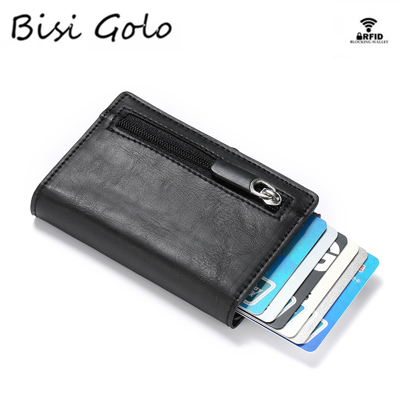 BISI GORO RFID Carbon Fiber Wallet PU Leather Card Case Single Box Smart Credit Card Holder 2019 New Arrival RFID Coin Purse