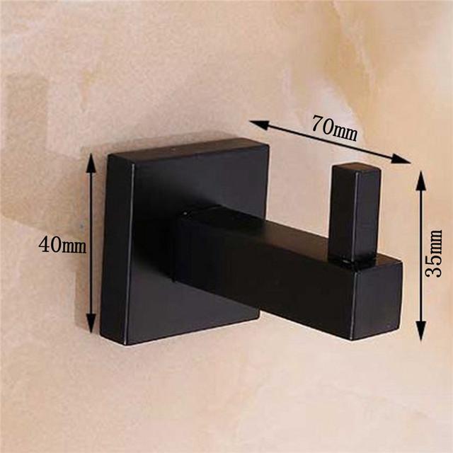 Xueqin Matte Black Stainless Steel Square Towel Rack Wall Mounted Holder Rail Tissue Roll Toilet Brush Holder Robe Hook Bathroom