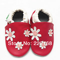 2017 Spring Autumn Baby Girls Slippers Genuine Leather Red Floral Infant First Walkers Babies Footcovers Prewalkers