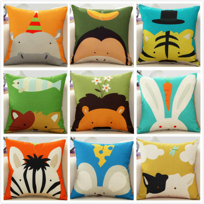 Sweet cute animal children lovely printed linen cushion Cushion Cover covers sofa bed home room Dec square wholesale FG160