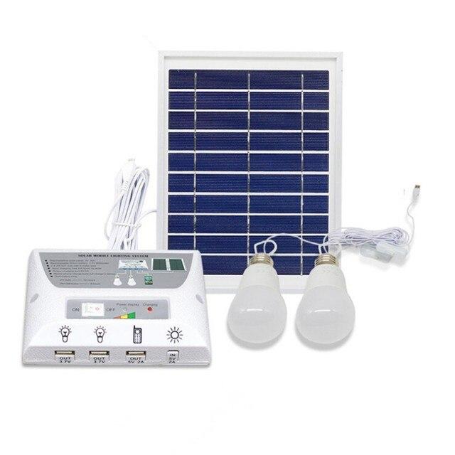 Solar Panel With Led Light Part - 38: 4.5W Solar Panel 5000mah Battery Mobile Solar Power LED Light Bulb Lamp  Solar Home Lighting