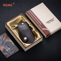 Leather Keychain Simple Car Key Bag Key Ring Men Accessories Pendant For Volvo Tesla Suzuki SEAT
