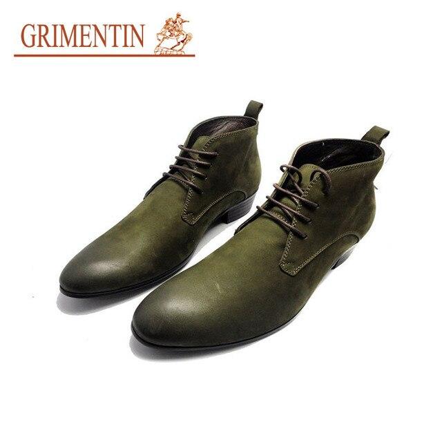 7ed996c0d8 US $124.0 |GRIMENTIN cowboy stivali da uomo in vera pelle in gomma militare  lace up della caviglia casuale stivali scarpe da uomo italiano di scarpe ...
