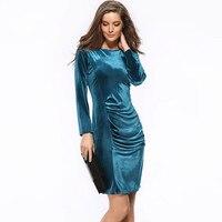 2016 Fashion Korea Velvet Gold Bag Hip Slim Sleeved Plus Size Sexy Bodycon Dress Black Friday