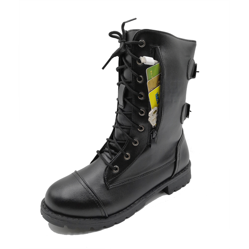 Women Boots Zip Buckle Military Combat Boots Credit Card Pocket Booties Lace Up Black Shoes Woman