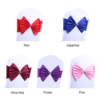10pcs Lot Spandex Stretch Wedding Bowknot Chair Decoration Elegant Bowknot Elastic Wedding Party Decor