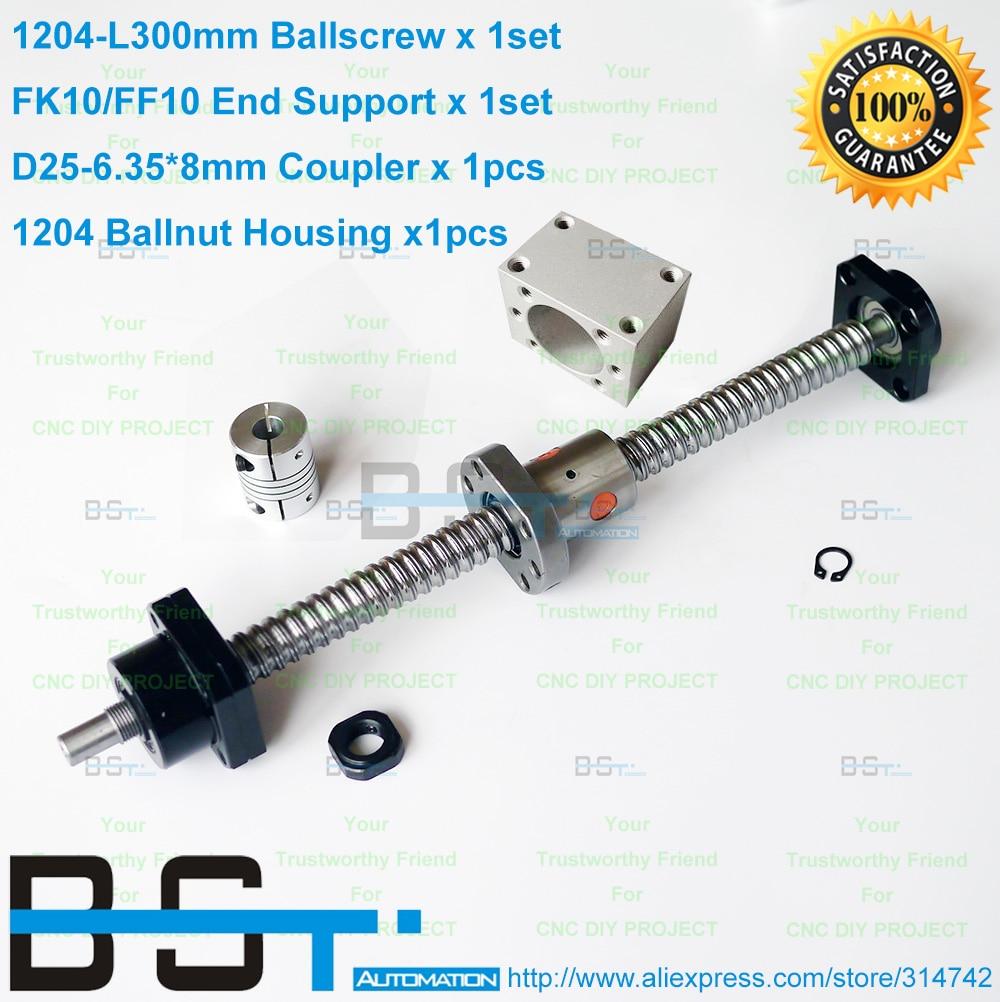 1204 Ball screw RM1204 L300mm SFU1204 Ballnut Nut Housing Bracket FK10 FF10 End Support 6 35x8mm
