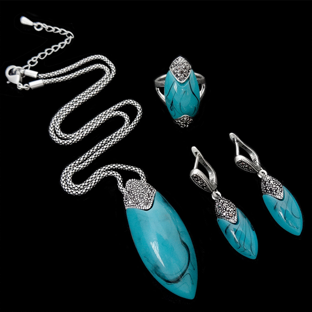 HENSEN 2016 New Design Antique Turkish Jewellery Set Retro Crystal And Blue Resin Silver Plated Vintage Jewelry Sets For Women
