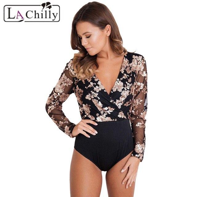 La Chilly One Piece Body Femme Sexy Bodysuit-women Rose Gold Sequin Black  Mesh Deep V Neck Long Sleeve Bodysuit Vrouwen LC32173 35fe81a9820