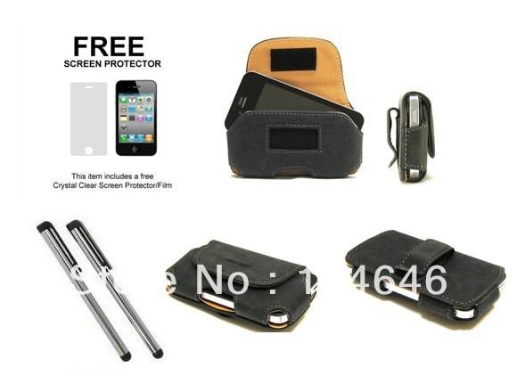 4pcs/pack,Black Leather Case Belt Clip Pouch For APPLE IPHONE 4S +  Stylus +Film
