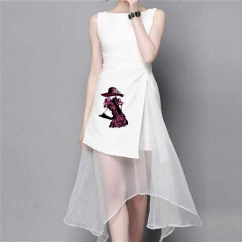 Мода ПВХ патч одежда большой цветок юбка Термотрансферная печать футболка женская Железная на нашивках для одежды девушка наклейки