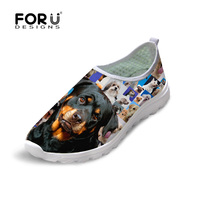 New Brand Women Shoes Summer Casual Mesh Slip On Shoes Cute Animal Dog Puzzle Print Shoes