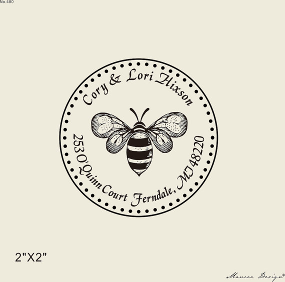 rustic return address stamp 2x2 inch custom bee family address stamp