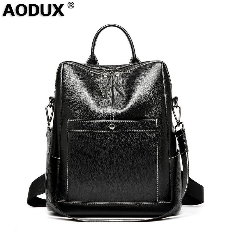 AODUX adolescents filles 100% sacs à dos en cuir véritable véritable peau de vache sac à dos femmes sac à dos couche supérieure en cuir de vache cartable