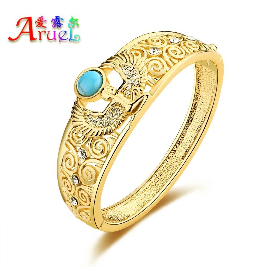 ARUEL Fashion Gold Color Women Austrian Wedding Crystal Rhinestone Angel Popular Big Bracelets & Bangles Jewelry Christmas Gift