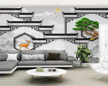 beibehang New Chinese architecture classic wall landscape painting mural TV background wallpaper papel de parede 3d papier peint
