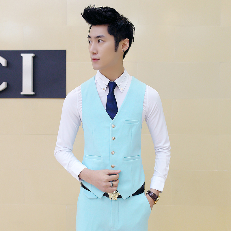 male suits Waistcoat 2017 new Mens suit vest Premium brand men Pure color slim groom Boys vests popular Hot Tops Size S M 2XL