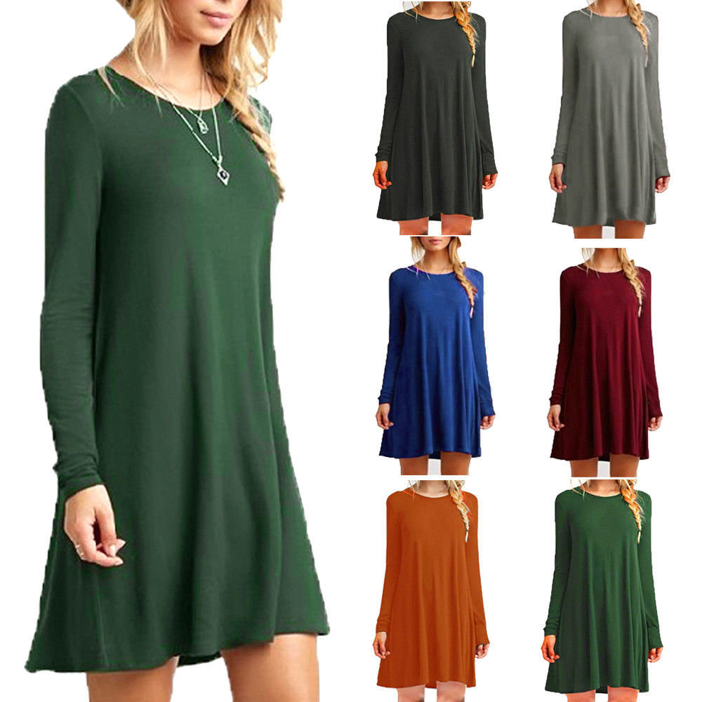 Skater Swing Women Loose Casual  Dress O-neck Long Sleeve Ruffles