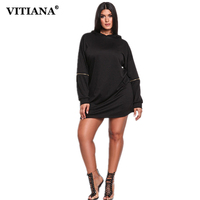 VITIANA Women Plus Size Long Hoodies Sweatshirts Dresses Female Autumn Long Sleeve Black Loose Casual Hoodie