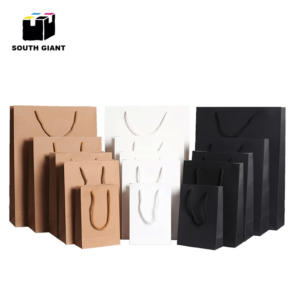 Custom Black White Paper Gift Bags With Handles 20pcs For Retail Garment Present Shoes DIY Recyclable Small Bag With Your Logo