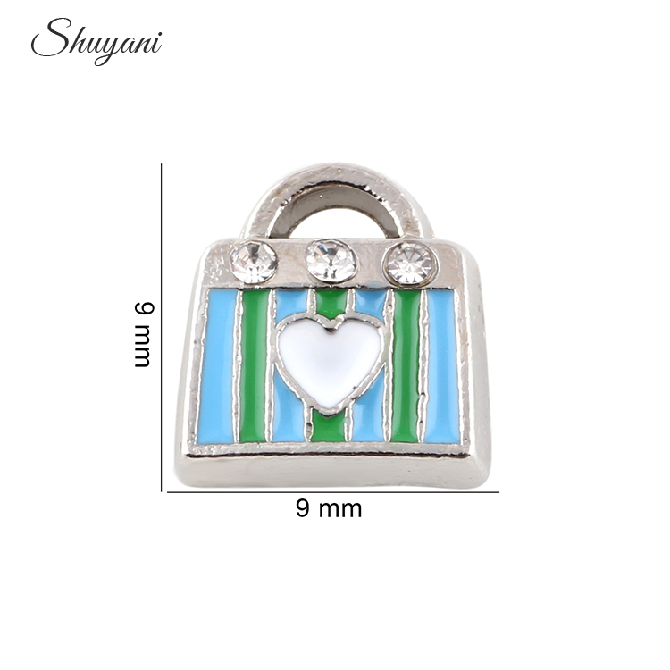 Newest Crystal Women Floating Handbag Charms For Memory Locket Pendant Wedding Jewelry Gifts