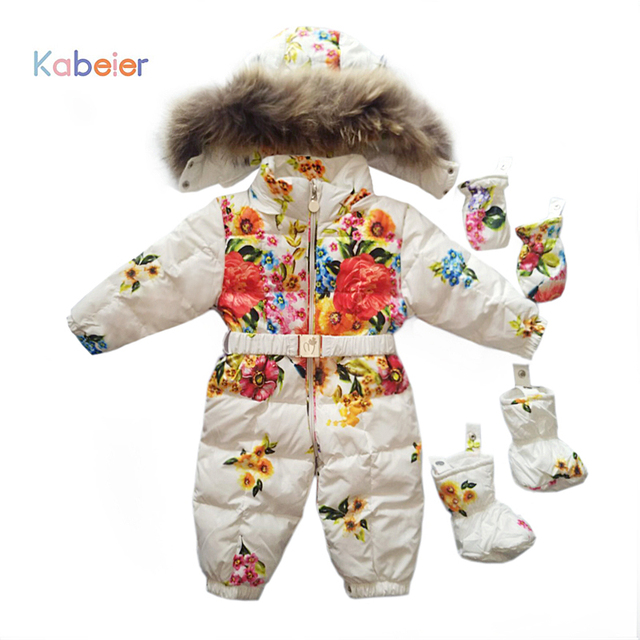 9ee13ed9b Baby Girl Snowsuit Newborn Infant Winter Clothes 0 3 Years Flower ...
