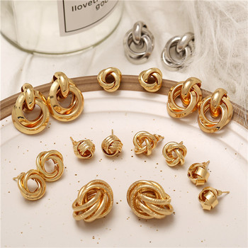 Minimalist Gold Silver Color Love Knot Earrings for Women Classic Twisted Stud Earrings  3