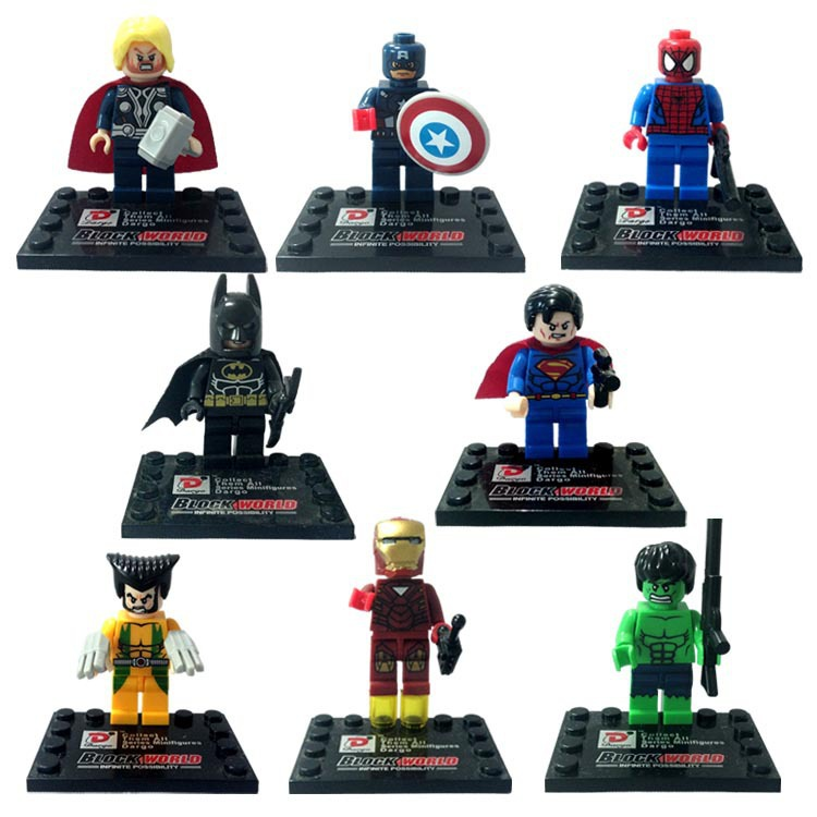8pcs/lot SuperHeros Marvel Avengers military figures Building Blocks Sets Bricks deadpool friends Hulk Batman spiderman vs sy180