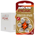 60 PCS Rayovac PEAK High Performance Hearing Aid Batteries.  Zinc Air 13/P13/PR48 Battery for BTE Hearing aids. Free Shipping!