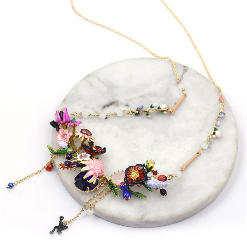 France Fresh Jewelry Enamel Glaze Trendy Monet Garden Series Water Lilies Ladybird Frog For Women Necklace