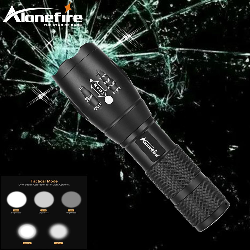 AloneFire E17 powerful led flashlight cree xml t6 zoomable flashlight high power torch zoom led 18650 flashlight torch light