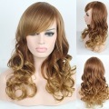 2015 New Arrive  Women Fashion Synthetic Hair Sexy Long Light Brown Curly Wavy Wigs
