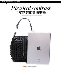 Classical Women Rock Puck Style Women's handbag Patchwork Lamb Sheepskin Female small cross-body bag with Rivet high quality