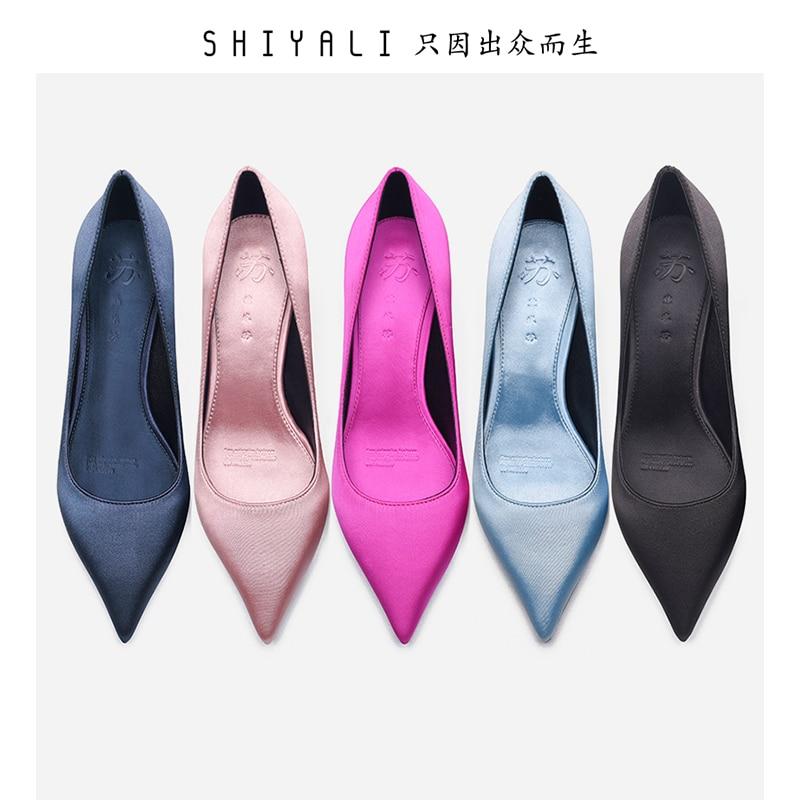 Women Office Shoes Sample Lower Heel 5cm Pointed Toe Higher Quality Silks Satins Pumps Comfortable Work Shoes Elegant Pumps